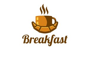 Breakfast coffee & croissant_logo