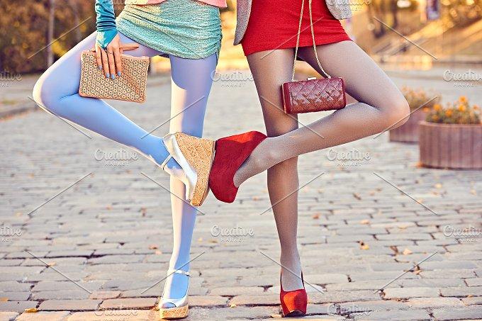 Fashion urban people, friends, outdoor. Womens on paving stone - Beauty & Fashion