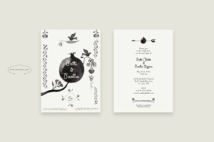Wedding invitation kit Ink drawn