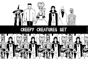 Creepy creatures set.