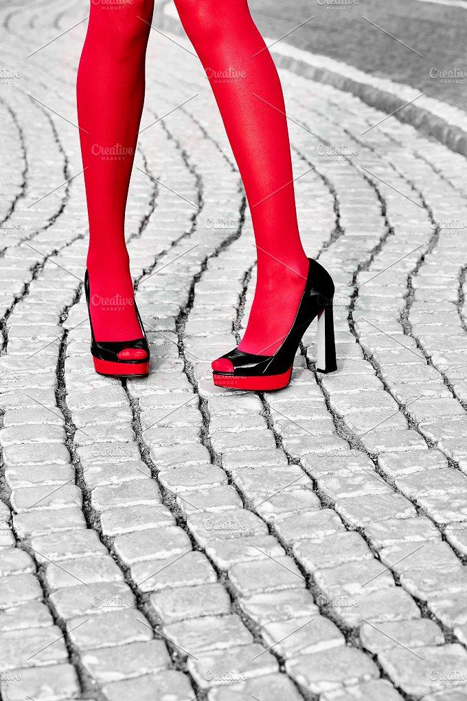 Fashion urban womens legs, heels. Black white, red - Beauty & Fashion