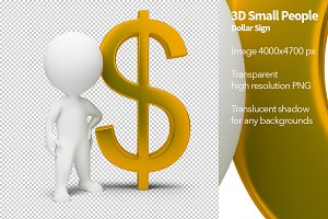 3D Small People - Dollar Sign