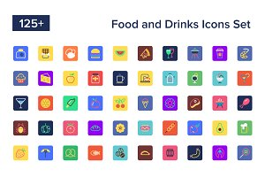 125+ Food and Drinks Icons Set
