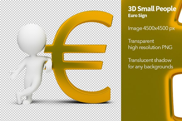 3d Small People Euro Sign Illustrations Creative Market