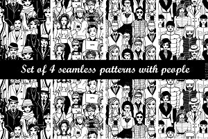 Set of 4 patterns with people.