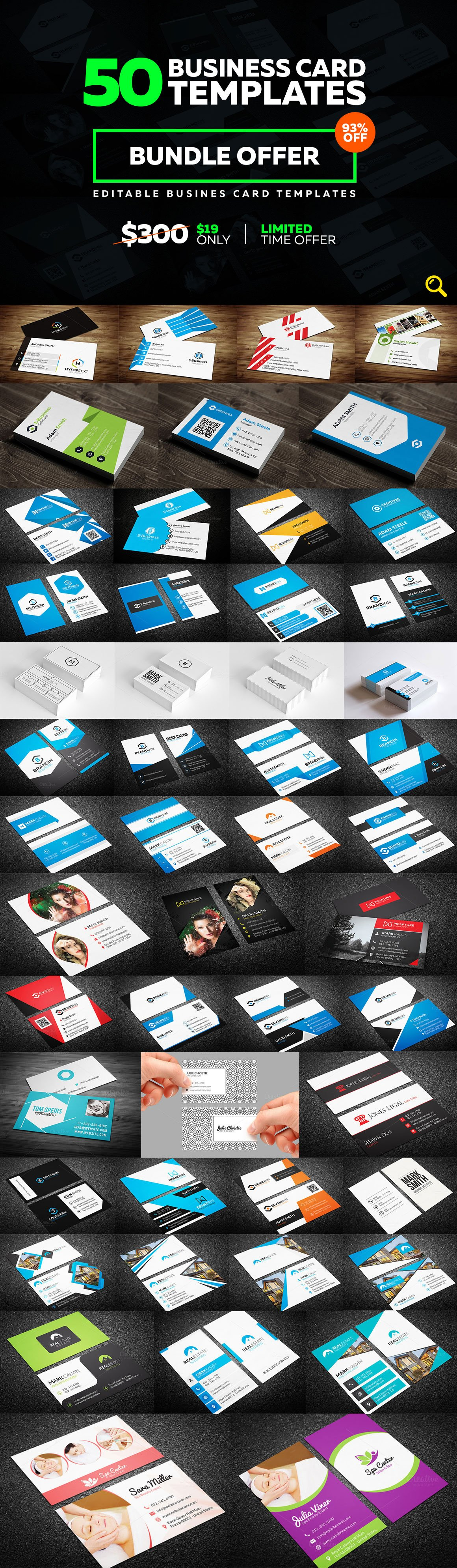 50 Creative Business Card Bundle ~ Business Card Templates ...