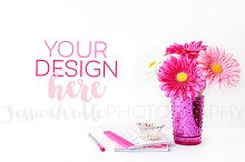 Pink Vase Flowers + Stationery Photo