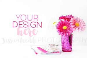 Pink Vase Flowers + Stationery Photo