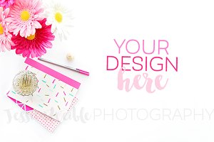 Pink Flowers, Sprinkles Stationery