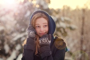teen girl outdoors in the snow