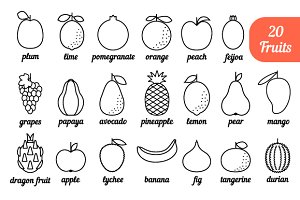 Set of Fruits Icons: apple, grapes,