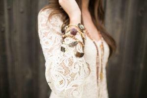 Woman's Arm with Boho Bracelets