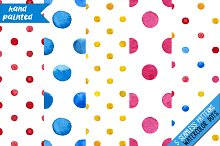 Watercolor dots seamless patterns