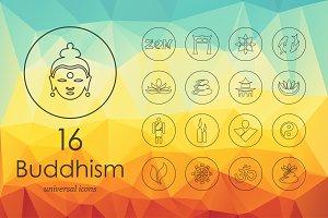 16 buddhism line icons