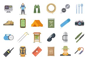 Hiking flat icons