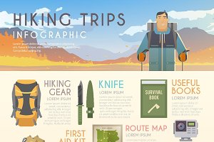 Hiking flat web infographic