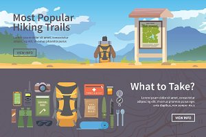Hiking flat web banners