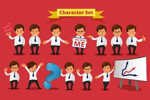 Big Set of Businessman Character.