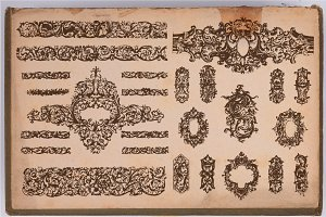 80 Hand Drawn Baroque Style elements