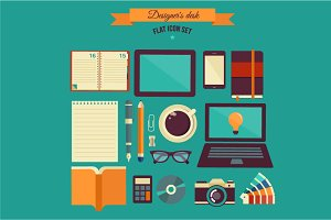 Designer's desk flat illustration
