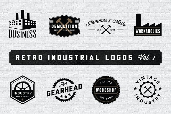 Retro industrial logos volume 1 logo templates for Industrial design company