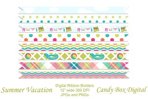 Summer Vacation Ribbon Borders