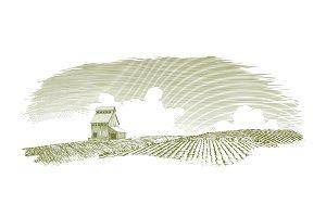 Woodcut Grain Elevator Scene