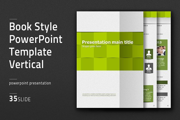 Book Style Ppt Template Vertial