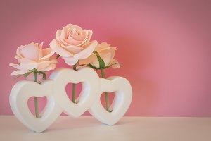 Rose flower in heart shape heart