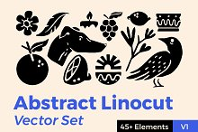Abstract Linocut Vector Set by  in Graphics