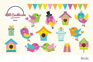Birds clipart, Spring clipart CL006