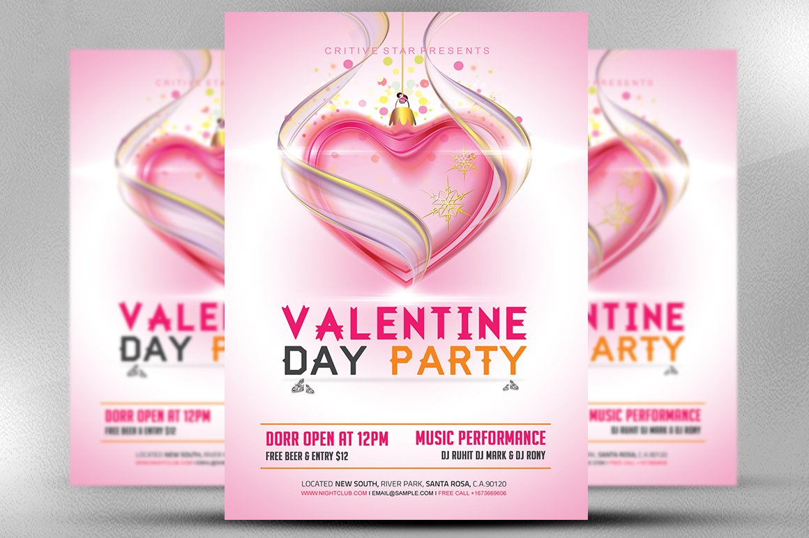 Valentine Day Party Flyer Template Flyer Templates Creative Market