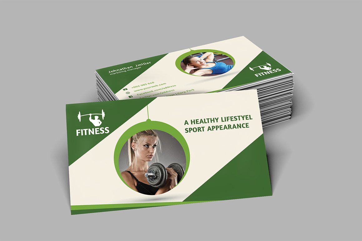 Fitness Business Card ~ Business Card Templates ~ Creative Market