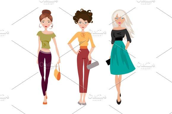 Fashionable girl. Vector - Illustrations