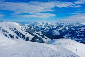 Ski slopes in Austrian Alps