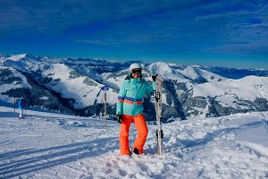 Ski girl in Austrian Alps