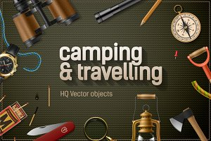 Summer camp vector objects
