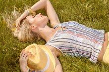 Playful woman relax, garden,outdoor