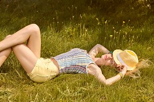 Woman relax in garden,people outdoor