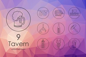 Tavern line icons