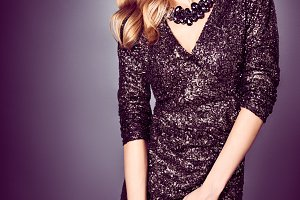Fashion woman, sequins dress, hat