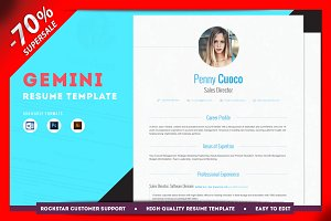 -70% OFF Resume Template - Gemini