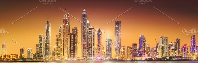 Panorama of Dubai marina. UAE - Architecture