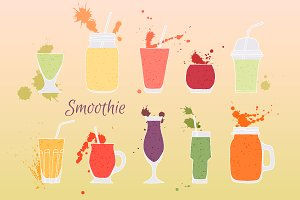 Collection fruit smoothies.