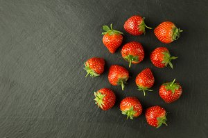 Fresh strawberries on slate