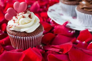 Valentine cupcake and red petals