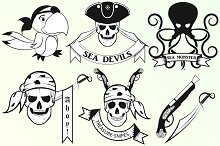 Pirate set of emblems with the skull
