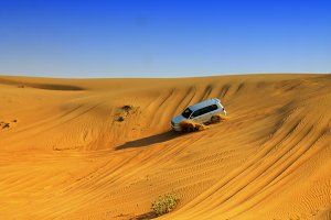 Jeep during desert safari,Dubai