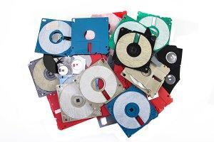 Colored damaged plastic floppy disc