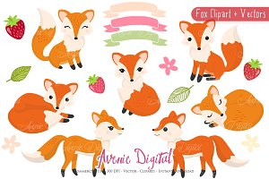 Cute Fox Clipart -Vectors